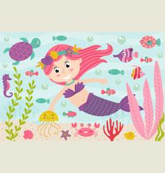 mermaid underwater with nautical animals vector image vector image