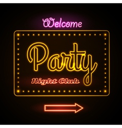 Neon sign Disco party night club vector image