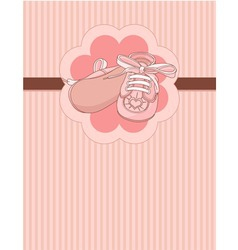 pink baby shoes place card vector image vector image