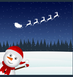 snowman escorts santa claus in the woods vector image vector image