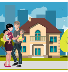 young family happy outside in front of new house vector image
