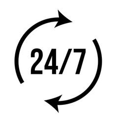 24 7 icon hour service clock vector
