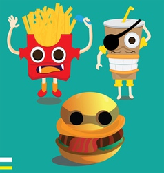 3 Monster fast food vector