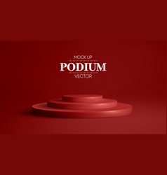 3d red podium on soft red background stage vector