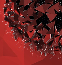 Abstract polygonal red background explosion of 3d vector