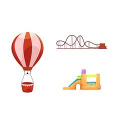 Amusement park objects icon set vector