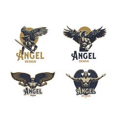 Angel man set of emblems vector