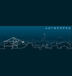 Antwerp multiple lines skyline and landmarks vector