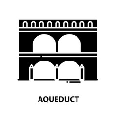 Aqueduct icon black sign with editable vector