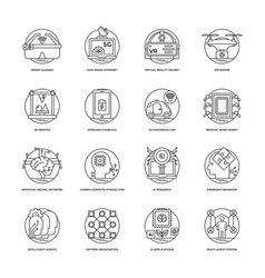 Artificial intelligence line icons 5 vector