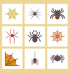 Assembly flat icons halloween spider web vector