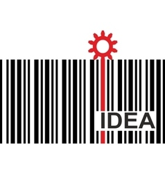 barcode with idea text and gear icon vector image