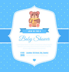 Bashower invitation template on blue polka dot vector