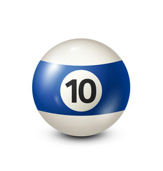 Billiardblue pool ball with number 10snooker vector
