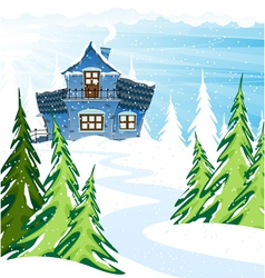 Blue house in a pine forest vector image