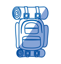 Blue shading silhouette of camping backpack vector