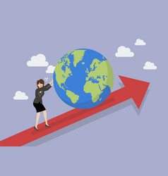 business woman pushing the world on graph up vector image