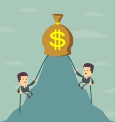 Businessman is climbing to get the money vector