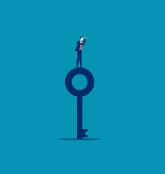businessman standing on top key and looking vector image