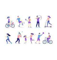 cartoon color characters people and activities vector image