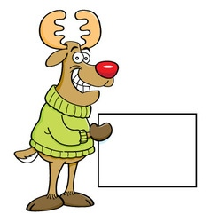 Cartoon reindeer holding a sign vector image