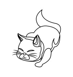 Cat animal pet adorable outline vector