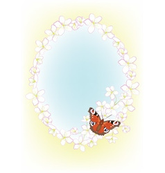 Cherry blossoms and butterflies vector