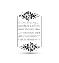 Citation text box tribal style frame with place vector image