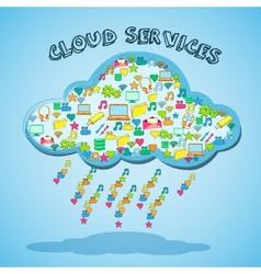Cloud network technology service emblem vector image