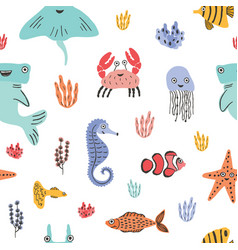 Colorful seamless pattern with funny marine vector