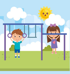 Couple little kids in the park characters vector