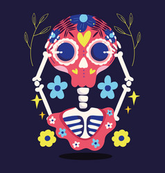 day dead skeleton with hands in head and vector image