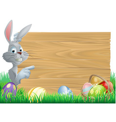 Easter bunny eggs and sign vector
