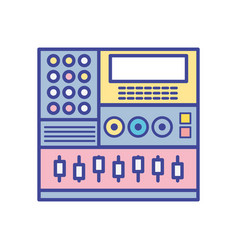 Electronic audio console to play music performer vector