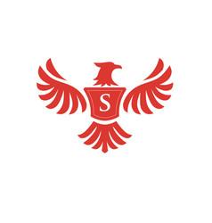 Elegant phoenix with letter s logo vector