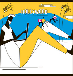 express delivery california hollywood man with vector image