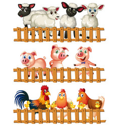 farm animals behind the wooden fence vector image
