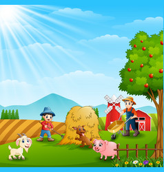 Farming working on farms with animals vector