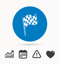 Finish flag icon start race sign vector