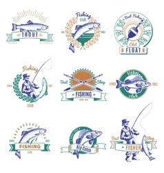 Fishing Colorful Labels Set vector