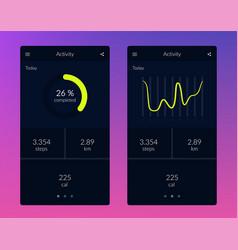 Fitness app ui ux design vector