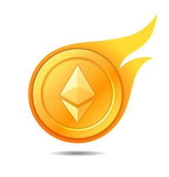 flaming ethereum coin symbol icon sign emblem vector image