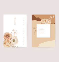 floral wedding invitation dried flowers card dry vector image