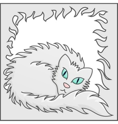 Fluffy Frame With White Fluffy Cat vector