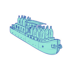Gin bottles on barge boat drawing vector