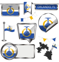 Glossy icons with flag of orlando vector