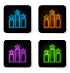 glowing neon ranking star icon isolated on white vector image
