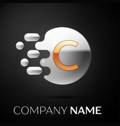 Gold letter c logo silver dots splash vector
