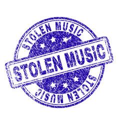 Grunge textured stolen music stamp seal vector