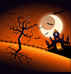 Halloween night scenery background decorative vector